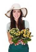 Beautiful Happy Woman Holding Flower Plant — Foto Stock