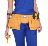 Female Construction Worker With Toolbelt — Stock Photo