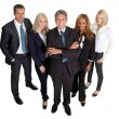 Diverse business group standing proudly on white — Stock Photo