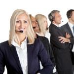 leende kvinna kund support — Stockfoto