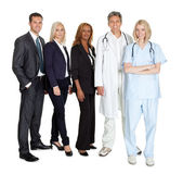 Group of workers on white background — Stock Photo