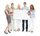 Businesspeople showing a blank board — Stockfoto