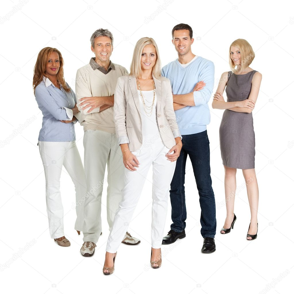 Casual group of standing isolated over white background — Stock Photo #20228747