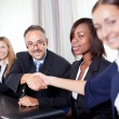 Portrait of business colleagues shaking hands — Stock Photo