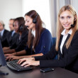 Closeup portrait of pretty customer care operator — Stock Photo