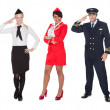 Flight crew members, pilots, stewardesses — Stock Photo