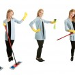 Photos of young cleaning woman — Stock Photo