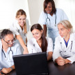 Portrait of group of smiling hospital colleagues — Stock Photo
