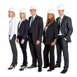 Team of confident civil engineer against white - Stock Photo