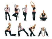 Set of fitness exercise photos — Stock Photo
