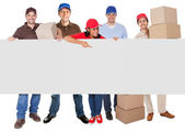 Group of delivery presenting banner — Stock Photo