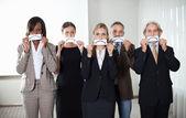 集团的企业高管与悲伤的情绪 — 图库照片