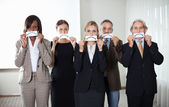 Group of business executives with sad emotions — Stock Photo