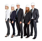 Team of confident civil engineer against white — Stock Photo
