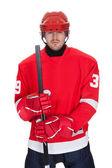 Portrait of professional hockey player — Stock Photo