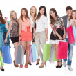 Stock Photo: Large group of with shopping bags