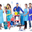 Group of professional cleaners — Stock Photo