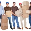 Group of delivery with boxes - Stockfoto