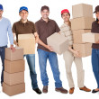 Group of delivery with boxes - Stock Photo