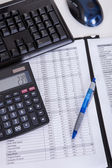 Financial papers calculator and pen — Stock Photo