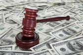 Judge gavel and dollars — Stock Photo
