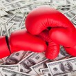 Boxing gloves and lots of cash — Stock Photo