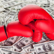 Boxing gloves and lots of cash - Stock Photo