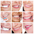 Collage of smiling woman cleaning her teeth — Stock Photo