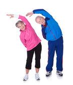 Porträtt av en äldre par utövar — Stockfoto