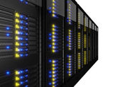 Row of many server racks — Stockfoto