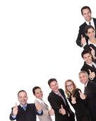Grupo de ejecutivos dando pulgares — Foto de Stock