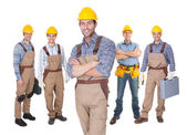 Portrait of happy construction workers — Stock Photo