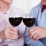 Senior Couple Toasting Glass Of Wine — Stock Photo