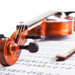Violin And Musical Notes - Stock Photo
