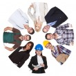 Low angle view of diverse professional group — Stock Photo