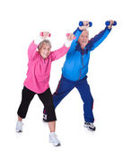 Portrait Of A Senior Couple Exercising — Stok fotoğraf