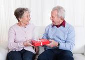 Senior Man Giving Gift To Senior Woman — Stock Photo