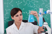 Female Scientist Holding Chemical — Foto Stock