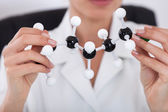 Scientist Looking At Molecular Structure — Stock Photo