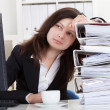 Stressed Woman Working In Office — Stock Photo #23527741