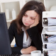 Stressed Woman Sleeping In Office — Stock Photo