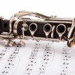 Stock Photo: Close-up Of Clarinet And Musical Notes