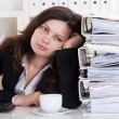 Stressed Woman Working In Office — Stock Photo