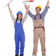 Excited construction workers — Stock Photo #24298401