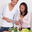 Couple With Vegetables And Digital Tablet — Stock Photo