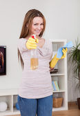 Young Woman Cleaning House — Stock Photo