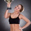 Young Woman Lifting Trophy — Stock Photo