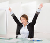 Businesswoman Celebrating Success — Stock Photo