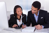 Two Business Doing Finance Work — Stock Photo
