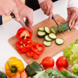 Couple Chopping Vegetables — Stockfoto